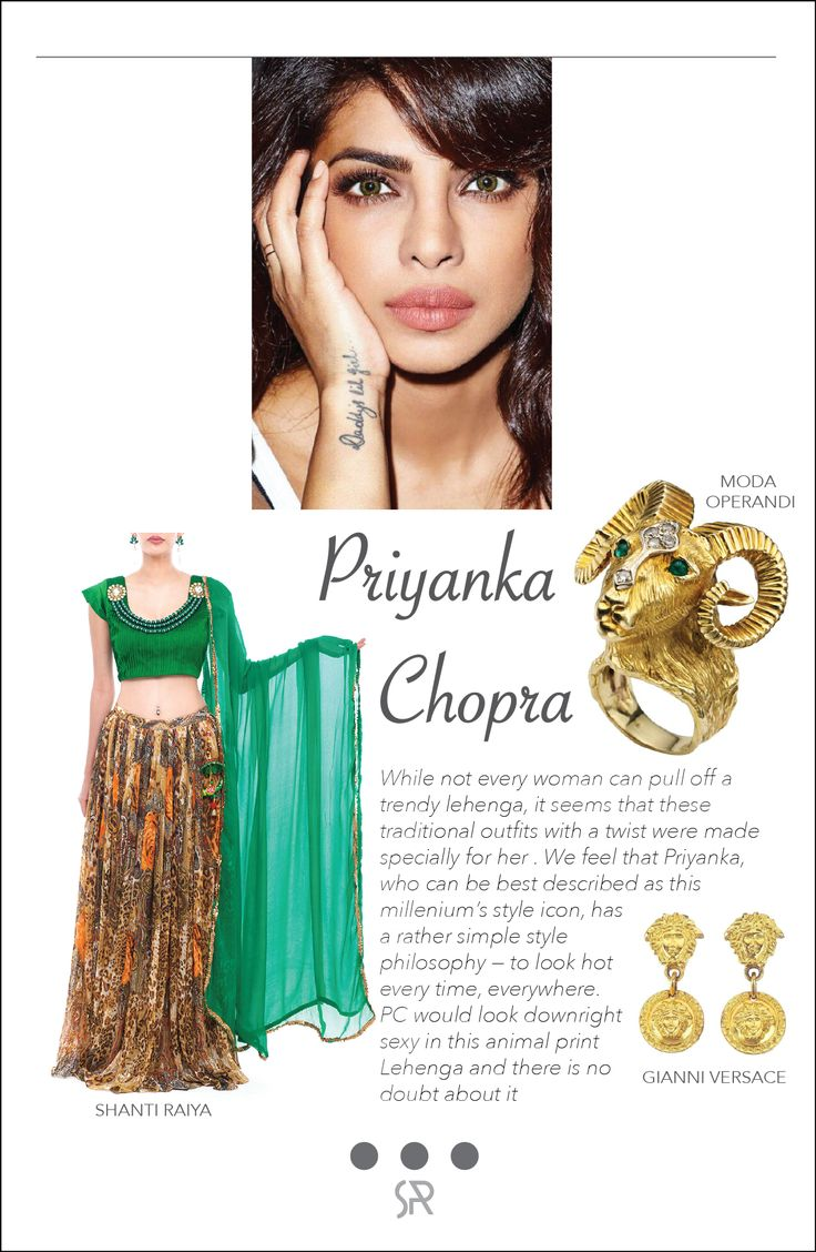#CelebCrush Priyanka Chopra Priyanka, who can be best described as this millenium's style icon, has a rather simple style philosophy — to look hot every time, everywhere. PC would look downright sexy in this animal print lehenga and there is no doubt about it  For more information on our services and collection, log onto:  www.shanti-raiya.com