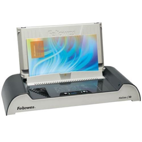 Fellowes Helios 30 Thermal Binding Machine. Thermal binding just got easier with the new Fellowes Helios 30 thermal binder. This new thermal binder from Fellowes introduces a convenient and easy way to bind thermal documents in a quick and large capacity manner. Capable of binding up to 300 sheets of 20# paper in a 1-3 minute bind cycle, and 4 minutes of heat up time, this thermal bind machine will allow you to quickly produce professional quality documents in no time at all.