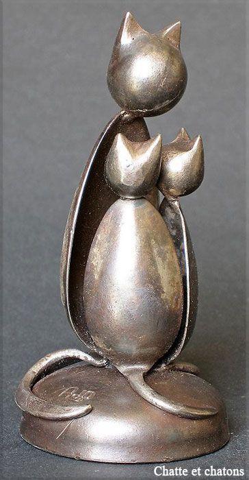 JEAN-PIERRE AUGIER, SCULPTEUR Chatte-et-chatons.jpg (364×700)