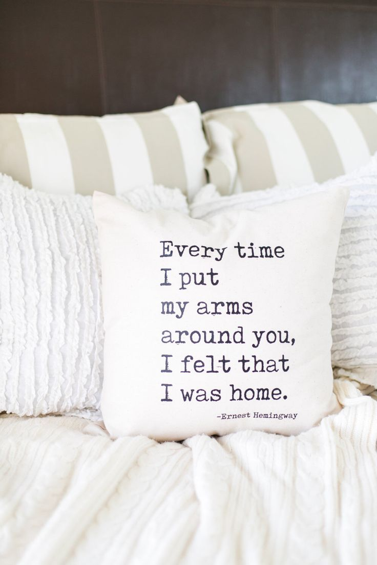"Home in Your Arms ( Ernest Hemingway Quote ) // Natural Cotton 18"" x 18"" Throw Pillow, Home, Book Lover, Farmhouse, Wedding, Quotes by EllisonMade on Etsy https://www.etsy.com/listing/500624731/home-in-your-arms-ernest-hemingway-quote"