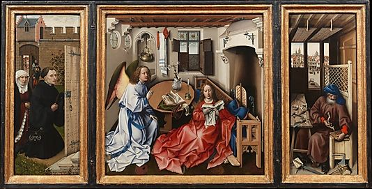 """""""The Annunciation Triptych"""" displays the hallmarks of the emergent Early Netherlandish style. A fascination with the natural world dominates. The smallest details are meticulously worked to reflect reality on a two-dimensional plane. Illusionistic effects are enhanced by the technical innovation of overlaying translucent oil pigments on aqueous opaque pigments. The resulting luminous, enamel-like surface achieves apparent depth, rich gradations of light"""