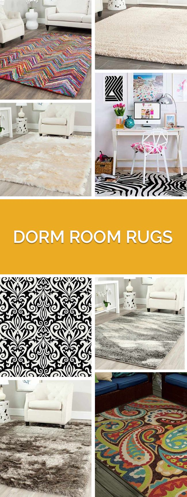 Dorm room rugs that fit every budget! Chic styles and colors to fit every room palette.