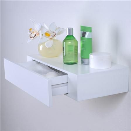 DL XL10 48cm Shelf with Drawer, Lacquered White
