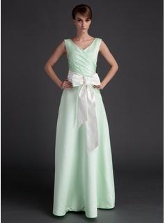 A-Line/Princess V-neck Floor-Length Satin Bridesmaid Dress With Ruffle Sash (007001060)