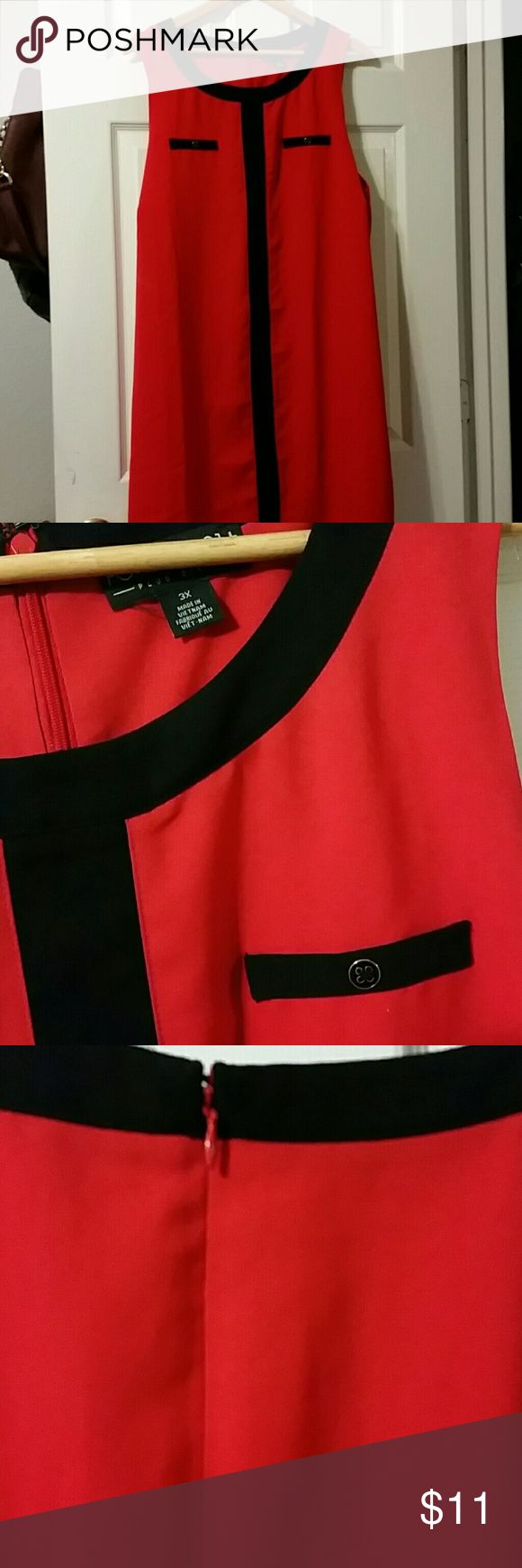 Dress Plus size Red and black sleeveless dress with faux pocket detail Forever 21 3x never been worn Forever 21 Dresses Midi