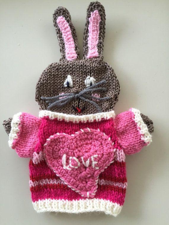 Valentijn haasje gebreide handpop poppenkastpop voor door HandDoll