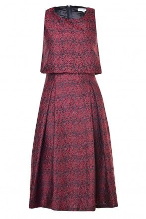 Rosa Brocade Two layer Dress in Burgundy