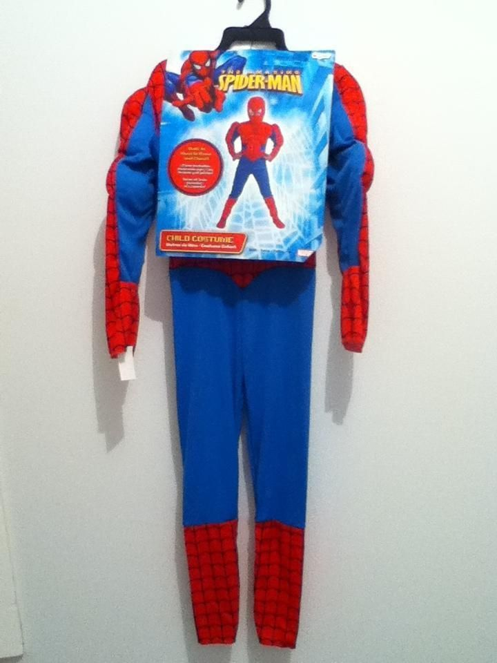 Spiderman  Super Hero DC Comic Costume Muscle suit, face mask NWT Tall 7-8 #Disguise #CompleteCostume