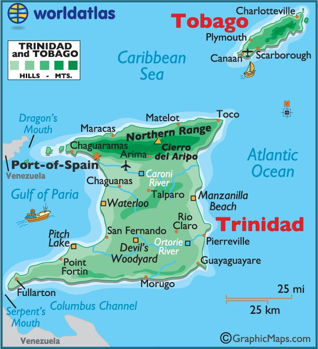 Trinidad & Tobago map (worldatlas.com)