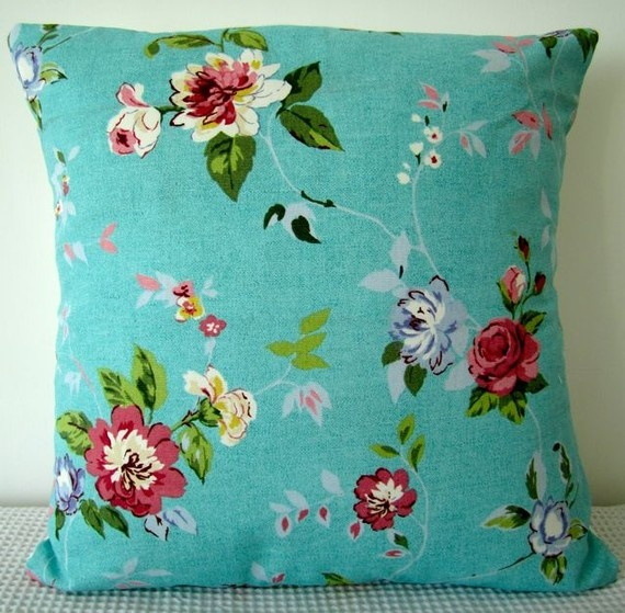 Vintage Floral Teal Cushion Cover