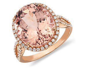 Morganite and Diamond Ring in 14k Rose Gold