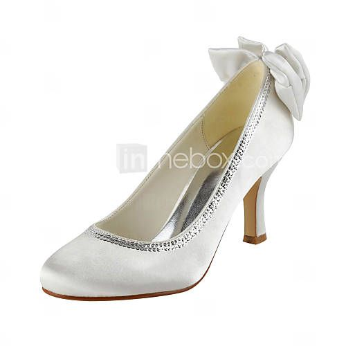 Satin Stiletto Heel Pumps With Bowknot / Sequin Wedding Shoes (More Colors)