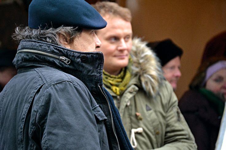 Hartmut Volle und Devid Striesow beim Tatort-Dreh in Saarbrücken. © Michi Jo Standl