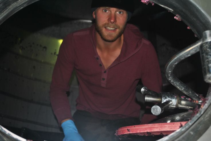 Finn, one of our harvest interns in a tank digging out all of the pinot noir skins post fermentation