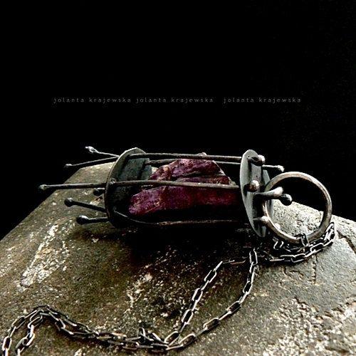 in a cage  purpurite pendant sterling silver by jolantakrajewska, zł700.00