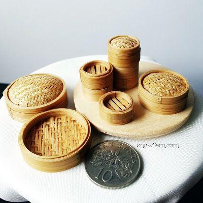 Snowfern Clover - miniature foods 1:12, 1:24 & 1:48 dollhouse scale: 1:12 Miniature Dimsum Steamer Baskets, DONE!