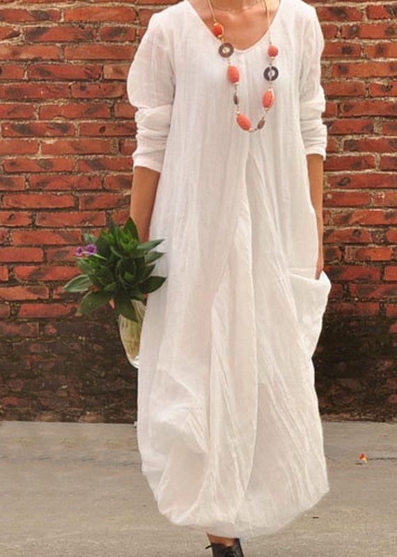 Flower Hem Loose Ramie Dress