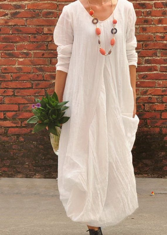 My style 8: Natural/Asian/Simple/Lagen/Urban nomad  (Flower Hem Loose Ramie Dress  CustomMade Fast Shipping by zeniche, $61.00)