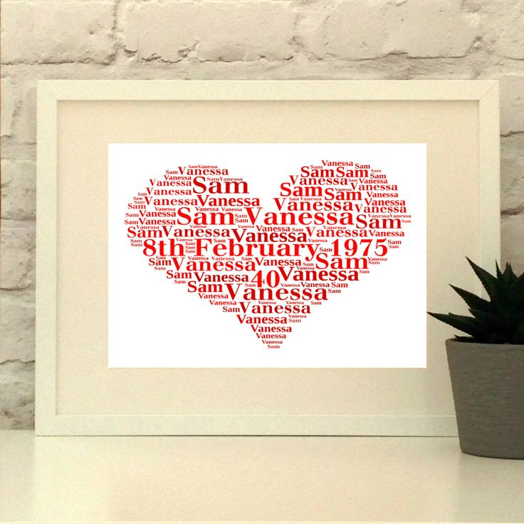 A personal favourite from my Etsy shop https://www.etsy.com/uk/listing/268775413/ruby-wedding-anniversary-personalised