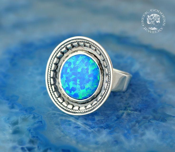 byzantine blue opal silver ring, byzantine ring, blue opal ring, opal ring, greek ring, antique ring, byzantine jewelry, blue opal jewelry by GreekGoddessJewelry on Etsy