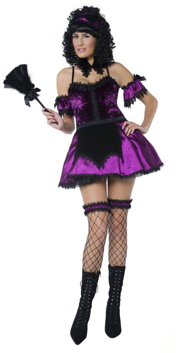 Disfraz de criada gótica sexy para mujer: Este magnífico disfraz de criada gótica se compone de un vestido corto de imitación de satén en la parte inferior y una enagua de tul para dar efecto ahuecado, así...
