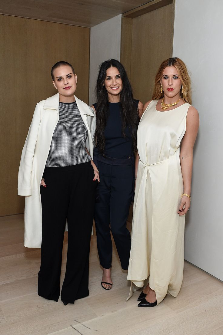Demi Moore attended the Net-a-Porter Celebrates Rosetta event with her daughters, Tallulah and Scout Willis, in LA on Thursday.