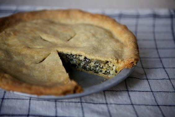 Leek and Greens Tart with Cornmeal Crust, a recipe on Food52