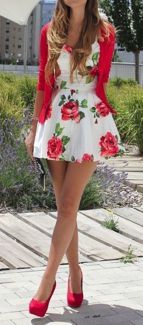 White dress + red floral print. Beautiful!
