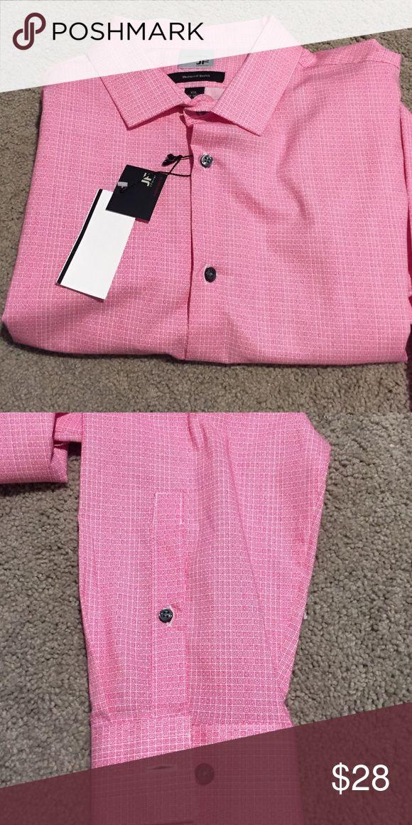 Pink Men's Dress Shirt Pink Dress Shirt. Long sleeve button down. Gray buttons. NWT. Super Slim Fit. Neck 18-18.5. Arm Length 34-35. jf j.ferrar Shirts Dress Shirts