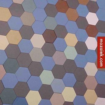 Mozaiek.com Utrecht – vrolijk Winckelmans hexagon wc-vloertje van 130 euro voor 80 euro | Mozaiek heeft van bijna alle kleuren samples van 10x10 hexagon in de showroom | dubbelhardgebakken tegels | door en door gekleurd