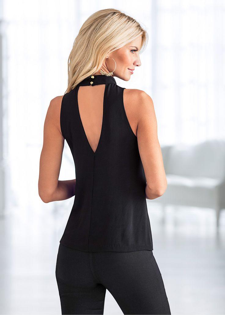 Confira:Blusa decote V, na frente e nas costas, com recorte em preto e branco.