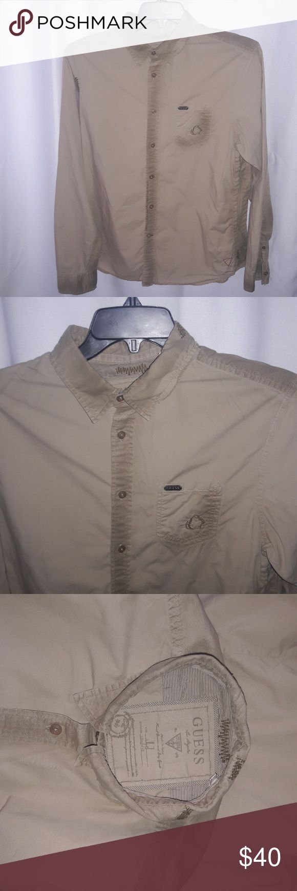 Guess tan factory distressed LS Shirt new 100% cotton New without tags Guess Shirts Casual Button Down Shirts