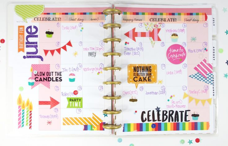 creating a birthday/anniversary planner with monthly spreads in The Happy Planner™ of mambi Design Team member Mary-Ann Malonado | me & my BIG ideas