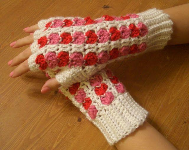 Free Crochet Parfait: Scrap Heart Fingerless Gloves Pattern.