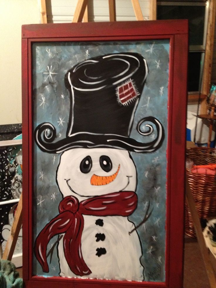 Old Painted Window Snowman Shabbynicarts Facebook Com My