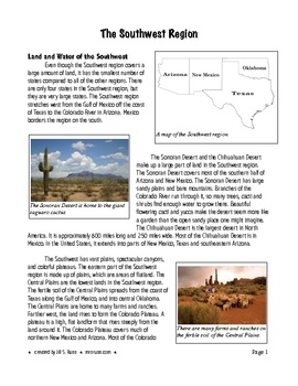 Southwest Region Products And Natural Resources