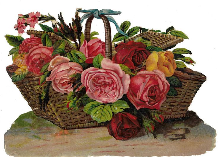 Victorian Die Cut Scrap Large Basket of Roses by Birn Brothers