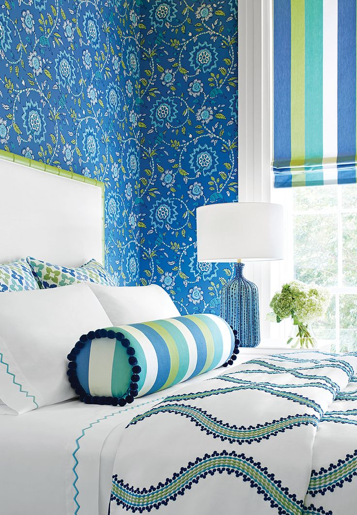 Sevita wallpaper in blue and green from the caravan for Turquoise wallpaper for bedroom