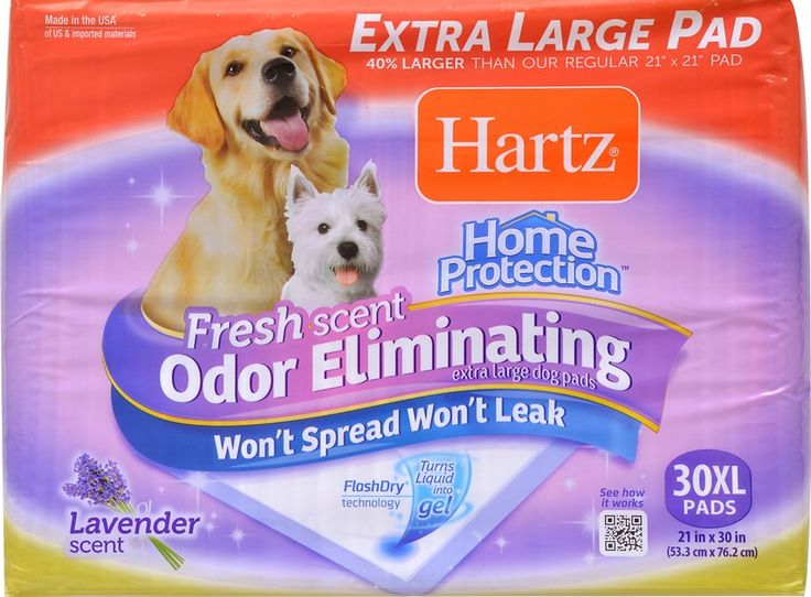 Hartz Home Protection Fresh Scent Odor Eliminating X-Large Dog Pads are highly absorbent and built to withstand wetness. Hartz makes the only pad with a FlashDry technology that instantly turns liquid into gel, keeping your floors dry and protecting them from damaging leaks and overflow. These pads don't simply mask odors but work to eliminate them with a light lavender scent that helps you maintain a clean-smelling home.
