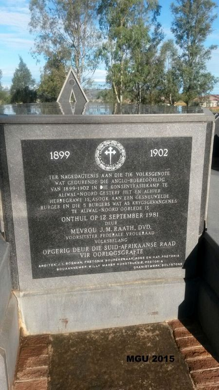Aliwal North Concentration camp cemetery - approximately 546 children under the age of 15 died in this camp.