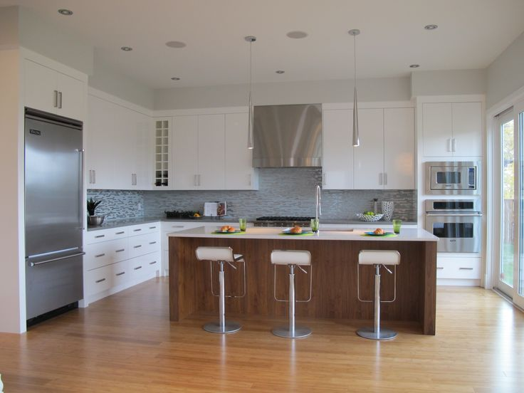 O2 Developments- Modern inner city infill- White kitchen with walnut island