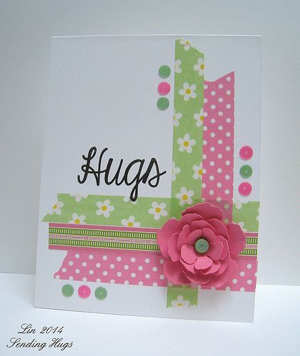 handmade card ... SSS May 28 Hugs ... luv the pretty tones of pink and green washi used as corner weave ... gel dots ... layered flower ... delightful card!!