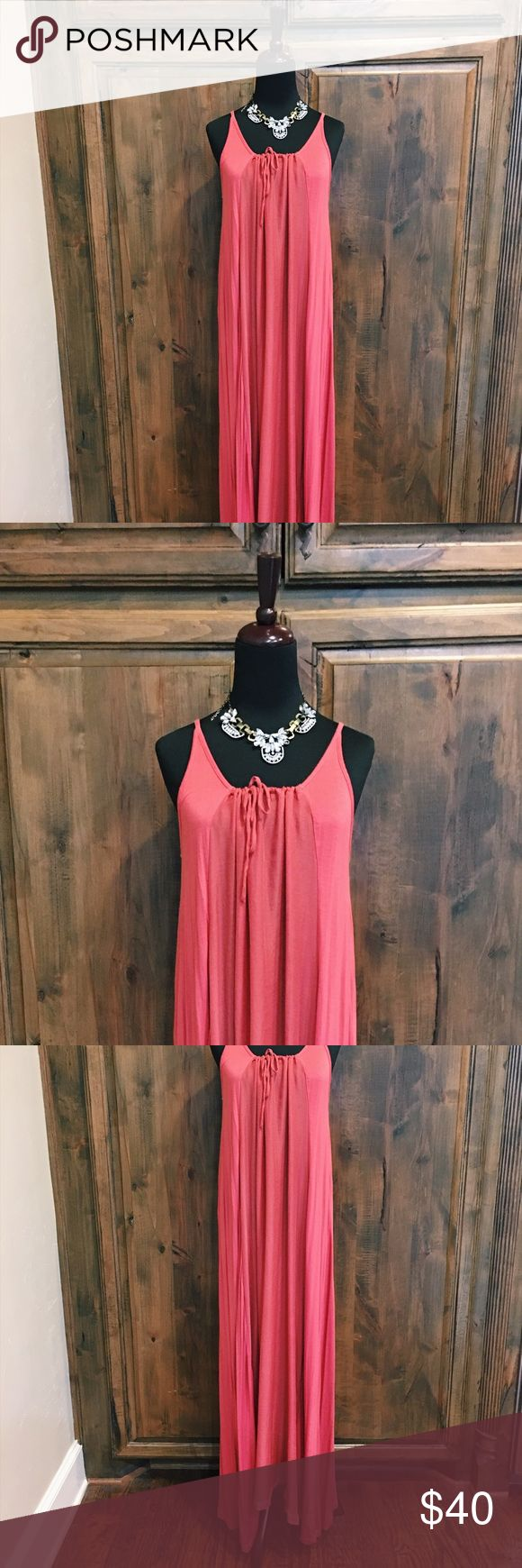 Anthropologie Coral Maxidress Gorgeous Anthropologie coral pink maxidress // sundress // swim cover up // dress for sale. Size small. Tie at neck. Can be dressed up or down. Staple closet item for the warmer months. Like-new. Tag cut out due to itchiness. No trades. Anthropologie Dresses Maxi