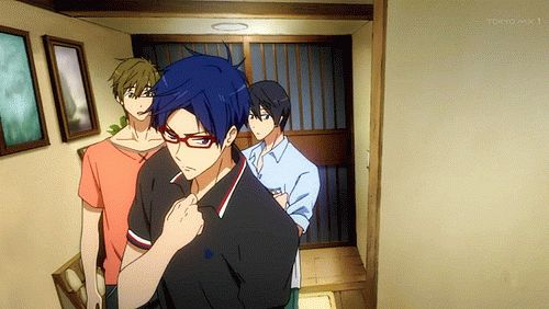 "Free! ES ~~ I loved how they brought back the ""Rei is Serious!"" animation design from the first season."