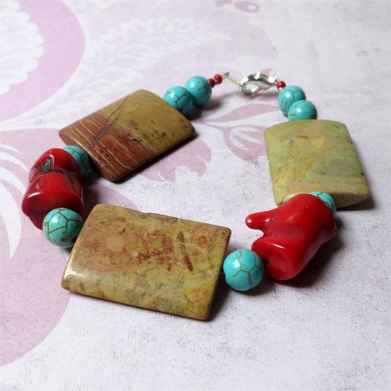 Bracelet jasper red coral and turquoise howlite by planettreasures