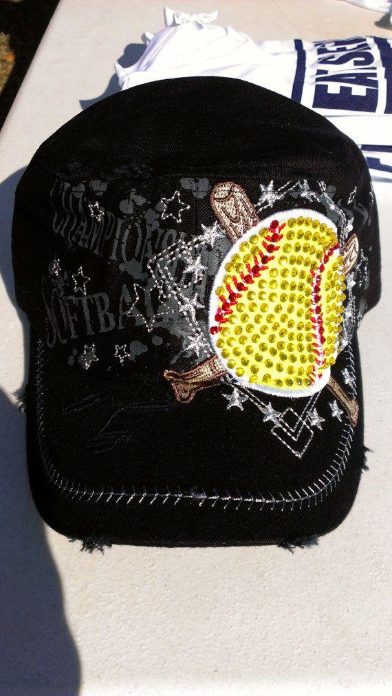 Softball Bling Hat by BuildaBlingTShirts on Etsy, $15.00