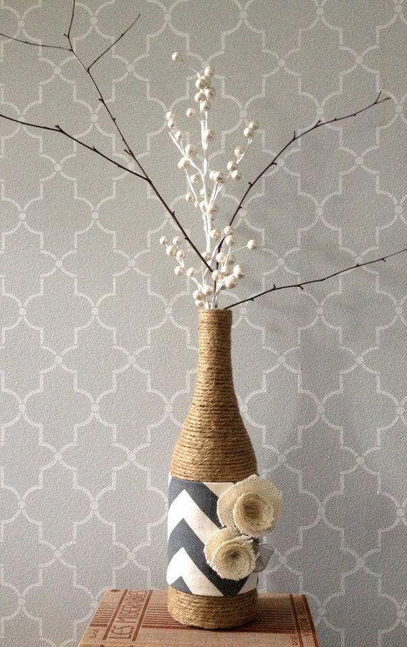 Upcycled Wine Bottle Jute and Chevron Vase - using twine, fabric and flowers
