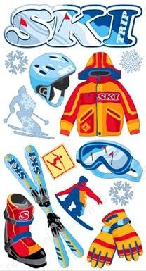 Skiing Scrapbooking Stickers