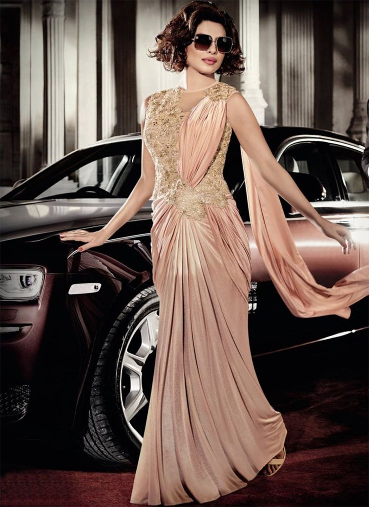 Priyanka Chopra Nude Pink & Gold Sari Gown - shopneez.com
