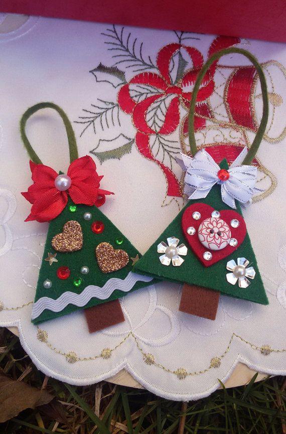 2 felt Christmas tree ornaments felt hanging by Rocreanique on Etsy